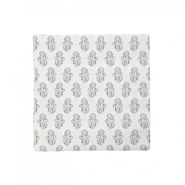 'Flower' Napkins, pack of 40, in White with a subtle Grey pattern. By House Doctor of Denmark