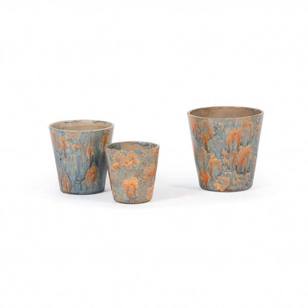 'Flower Pot' range, made from Ceramic, and beautifully presented in Blue / Orange. By Dekocandle of Belgium