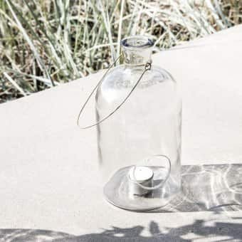 'Frej' Lantern / Tea Light Holder, Glass (H:25cm x D:12cm)