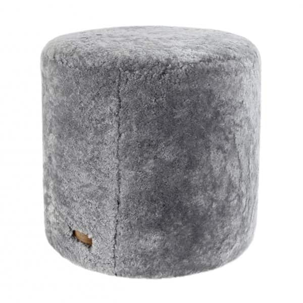 'Frida' - 100% Sheepskin Pouffe, Round, in Granite (colour). By Shepherd of Sweden