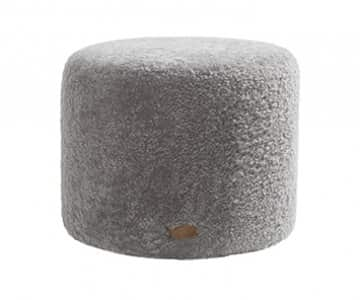 'Frida' - 100% Sheepskin Pouffe, Round, in Granite (colour). By Shepherd of Sweden.