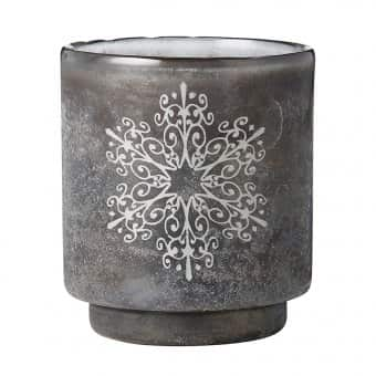 'Frostine' Votive, Smoked Grey and Silver (Large)