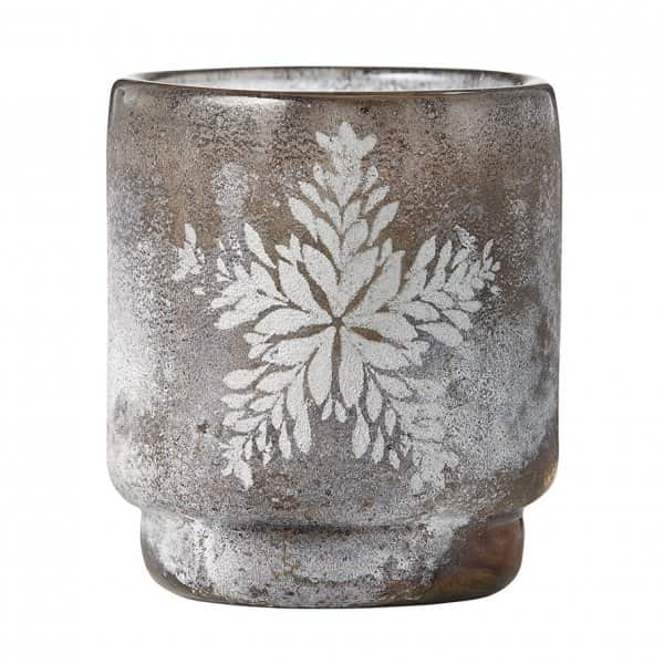 'Frostine' Votive range, in Smoked Grey and Silver with a frost motif, by Lene Bjerre of Denmark