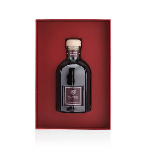 Gift Box with 250 ml Rosso Nobile diffuser, with Sticks, and a gold Greeting Card. From Dr. Vranjes Firenze