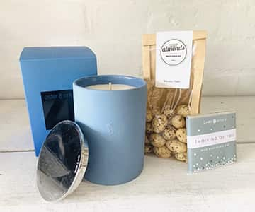 Gift Set suggestion 6 - Includes a stunning Ester & Erik scented candle (choice of 4), a 'Choc-Affair' milk chocolate bar, and a pack of white chocolate coated Almonds