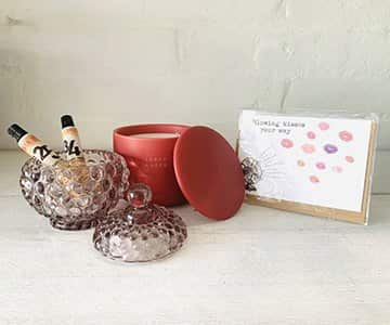 Gift Set suggestion 8 - Includes a stunning Lene Bjerre glass pot with lid, 2 hand creams, a beautiful ByON scented candle in a ceramic pot with lid, and a choice of card