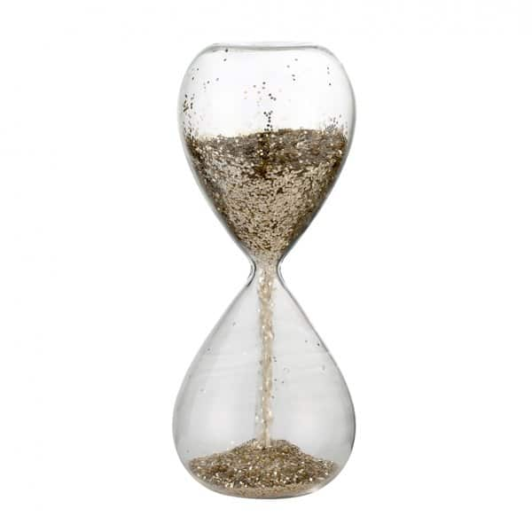 'Glisia' Christmas Hourglass, made from Clear Glass, with Light Gold glitter. By Lene Bjerre of Denmark