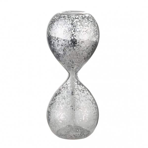 'Glisia' Christmas Hourglass, made from Clear Glass, with Silver glitter. By Lene Bjerre of Denmark