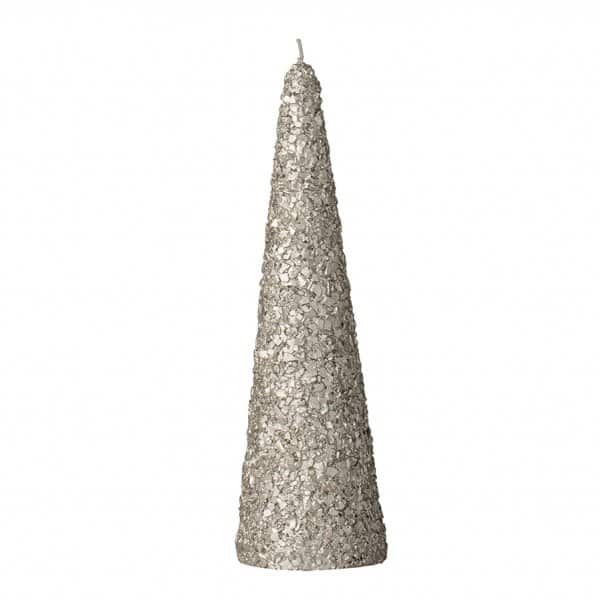 'Gliteria' Christmas Cone Candle, shaped as a Pine Tree, presented in Silver. By Lene Bjerre of Denmark