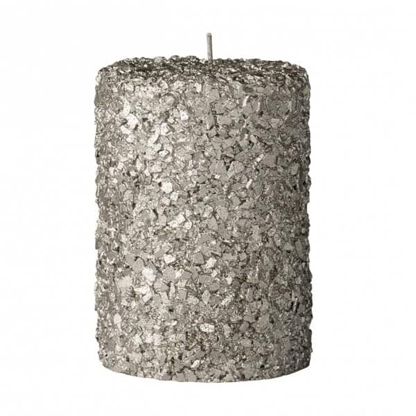 'Gliteria' Christmas pillar candle range in sparkly Silver. By Lene Bjerre of Denmark