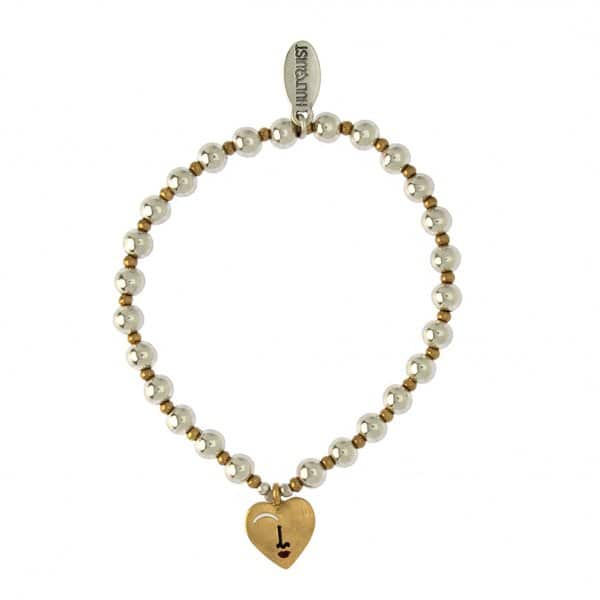 'Gold Heart' Bracelet with golden and silver balls, with a golden heart shaped pendant. By Hultquist of Copenhagen