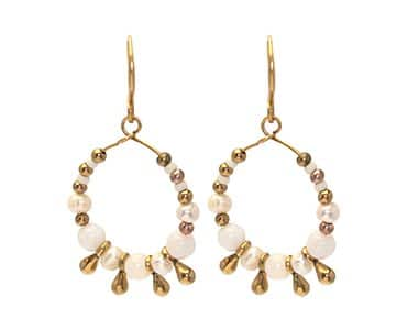 Gold Hook Earrings, multi-coloured semi-precious stones & glass beads, and golden drop pendants. By Hultquist of Copenhagen