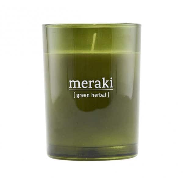 'Green Herbal' Scented Candle, in coloured Glass, and presented in a branded Tin. By Meraki of Denmark