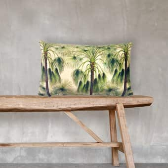 'Green Palms' Cushion, Velvet, (optional) Duck down filling (30cmx50cm)