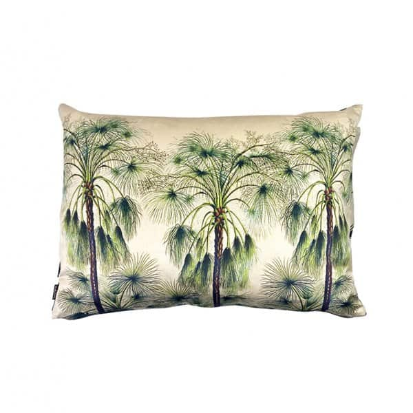 'Green Palms' Cushion, made from Velvet, with Duck down filling (optional). By Vanilla Fly of Denmark