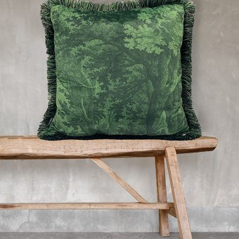 'Green Woods' Cushion, Velvet (optional Duck down filling), Green (50x50cm)