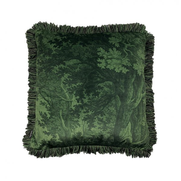 'Green Woods' Velvet Cushion with Fringe, with Duck down filling (optional), presented in Green. By Vanilla Fly of Denmark