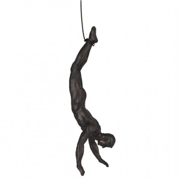 'Gymnastic Man' hanging ornament presented on a flexible wire cord. By London Ornaments.