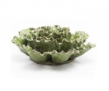 Handmade Ceramic Sea Lettuce, in Green, Grey & Mint. By Chive.