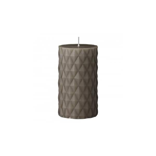 Handmade 'Diamond' pillar Candle in Moon Rock (colour). By Lene Bjerre of Denmark