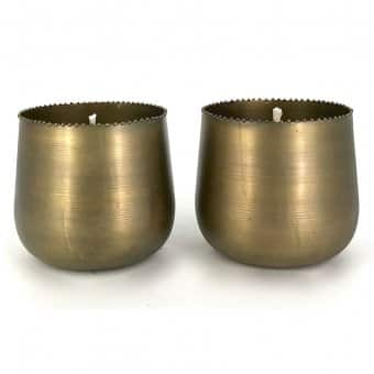 Brass Planter with Outdoor Candle D:13.5cm x H:12.5cm)