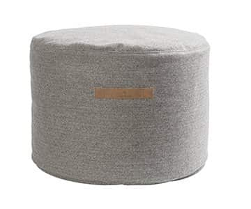 'Hayley' - Soft Wool Pouffe, Round, in Granite (colour), patterned. By Shepherd of Sweden