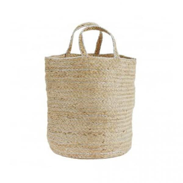 Hemp Bag with Handles in a Natural / Silver colour. By Madam Stoltz of Denmark