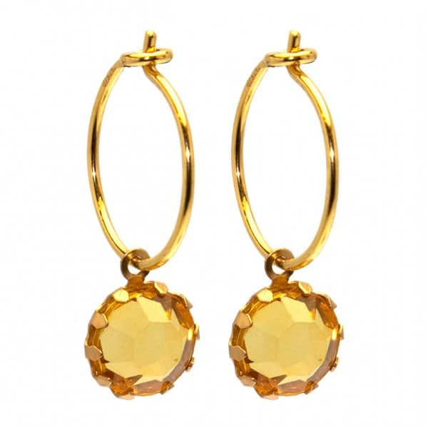 Hoop Earrings made from 18 carat Gold plated sterling Silver, with a glass pendant. By Hultquist of Copenhagen