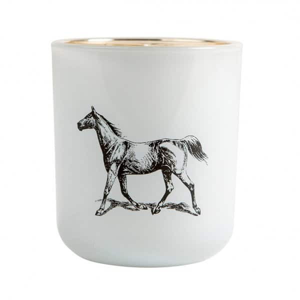 'Horse' Soy wax scented Candle in a tastefully printed white Glass pot. 'Victorian Candles' ByON