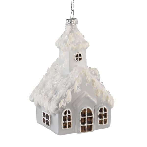 'House' hanging Christmas decoration, in White, with Snow White covering. By PTMD Collection®