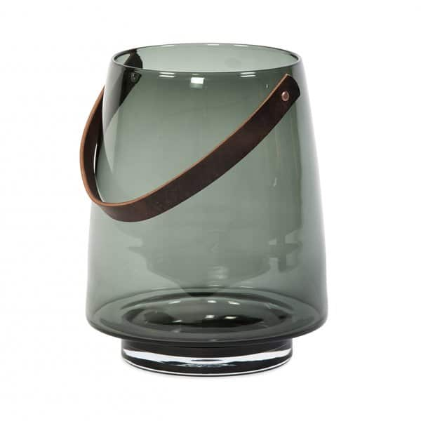 Hurricane Lantern for candles, beautifully crafted from smoked Glass, with a Leather handle. By Dekocandle of Belgium