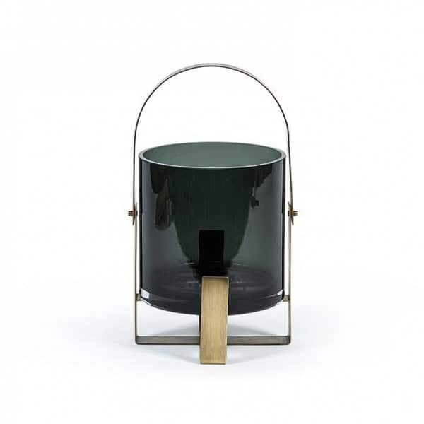 Hurricane Lantern, made from smoked Glass, with a stylish metal holder finished in Antique Gold. By Dekocandle of Belgium