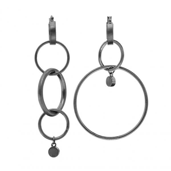 'Infinity' Earrings finished in Hematite. By Dansk Copenhagen
