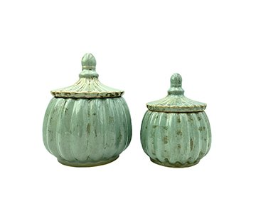 Jar with Lid (set of 2 different sizes), made from Ceramic, and presented in Mint. By Vanilla Fly of Denmark