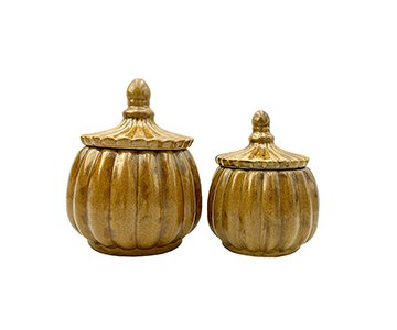Jar with Lid (set of 2 different sizes), made from Ceramic, and presented in Ocher. By Vanilla Fly of Denmark