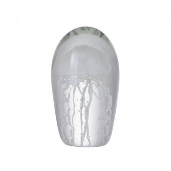 Jellyfish with Tentacles Paperweight, Glass, White (H:16cm x D:8.5cm)