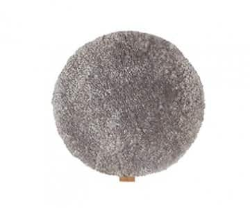 'Jill' - 100% Long-Haired Sheepskin Seat Cushion (non-padded), Round in colour: Granite. By Shepherd of Sweden