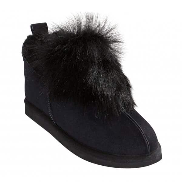 'Jolina' 100% Sheepskin Slippers in Black. By Shepherd of Sweden