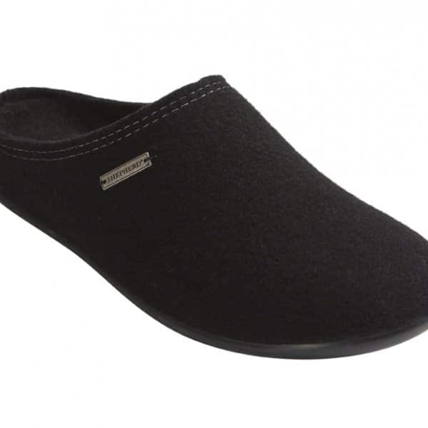 'Jon' Wool Slippers in Black. By Shepherd of Sweden.