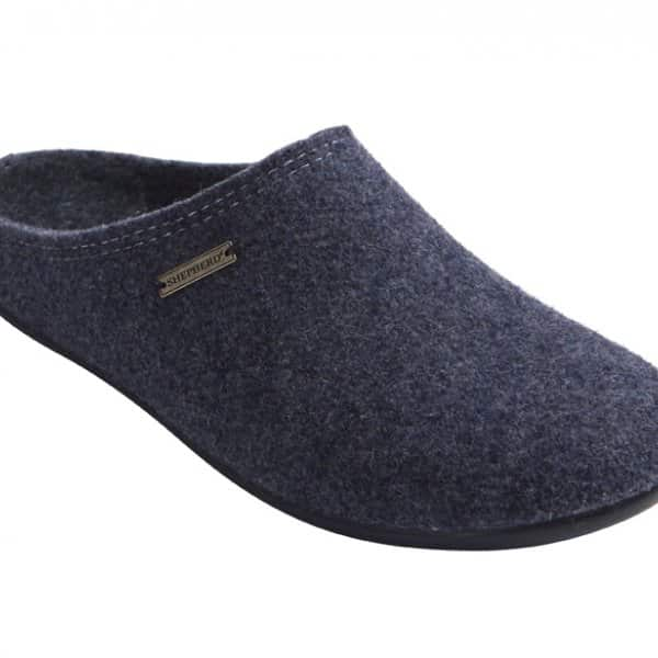 'Jon' Wool Slippers in Navy Blue. By Shepherd of Sweden