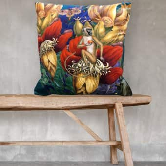 'Jungle Curry' Cushion, Velvet, (optional) Duck down filling (50cmx50cm)