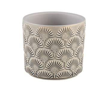 'Kaye' Ceramic Pot, in White, with a flower pattern. By PTMD Collection®