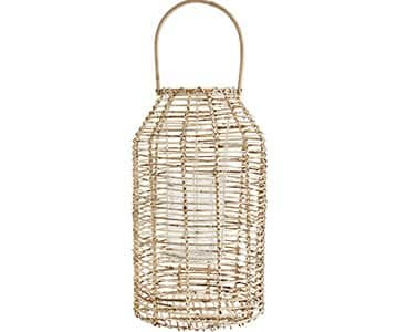 Lantern with handle, made from Rattan, with an integral Clear Glass votive. By Madam Stoltz of Denmark