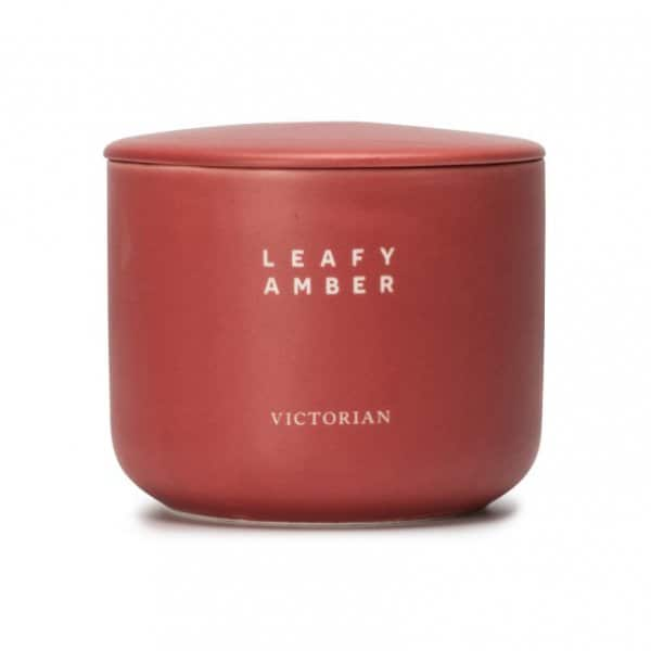 'Leafy Amber' Scented Candle range, presented in a beautiful Pink ceramic pot. 35% Off!