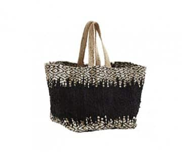 Leather / Jute Log Bag in Black / Light Grey. By Madam Stoltz of Denmark