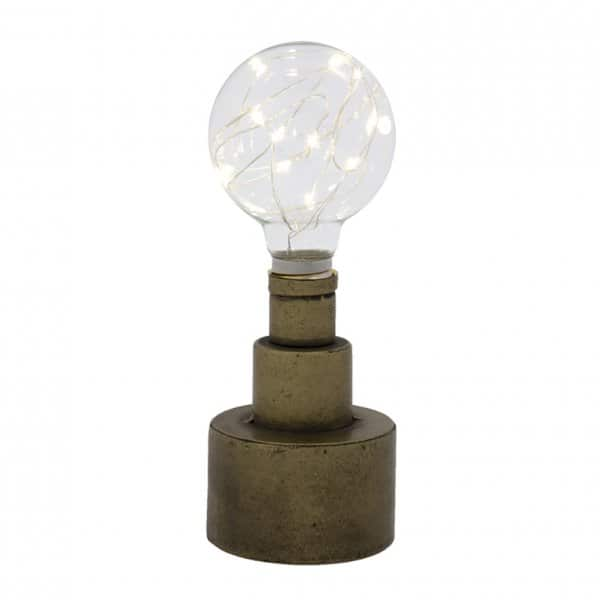 LED 'Orb' Lamp / Light in Antique Brass (colour), battery powered. By London Ornaments.