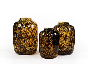 'Leopard' Vases, beautifully crafted from mouth-blown Glass, and presented in Black / Orange. By Dekocandle of Belgium