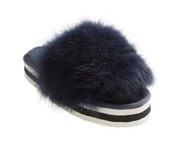 'Lilly' 100% Sheepskin Slippers in Marin (colour). By Shepherd of Sweden