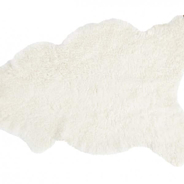 'Lisbeth' - 100% Short-Haired Sheepskin in White (with Flower patterned back). By Shepherd of Sweden