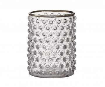 'Loretta' Vase / Candle Votive, with bobbled Glass and a Silver rim. by Lene Bjerre of Denmark
